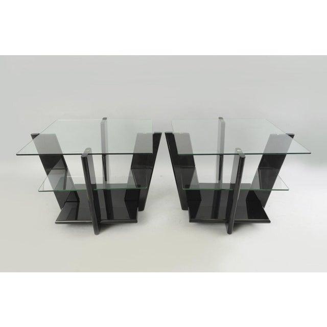 Item: Large Pair of Contemporary Modern Black Lacquer & Glass Sculptural 3 Tier End Tables Details: Unique black lacquered...