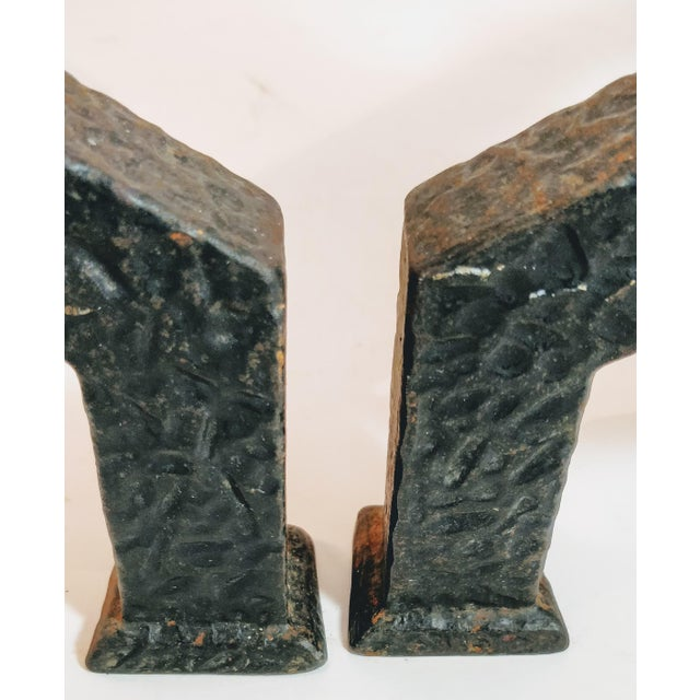 Vintage Bradley Hubbard Arts Crafts Cast Iron Fireplace Hammered Ball Andirons - a Pair For Sale - Image 11 of 13