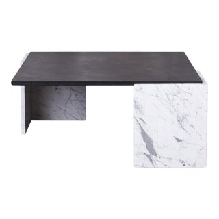 Italian Marble & Slate Coffee Table For Sale