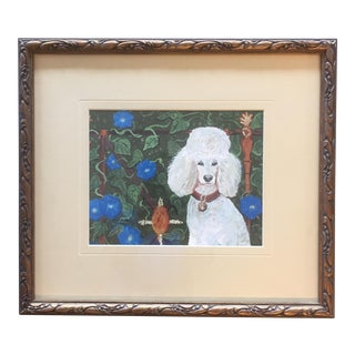 Poodle With Morning Glories Print by Judy Henn For Sale