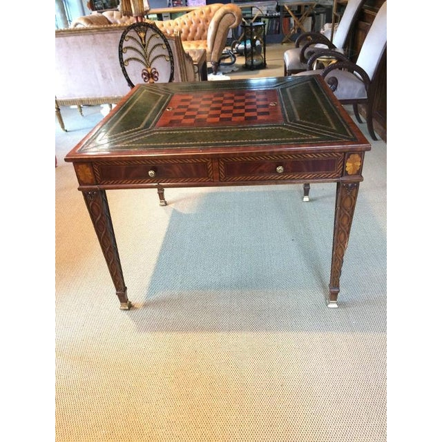 Inlaid & Tooled Leather Game Table - Image 2 of 4