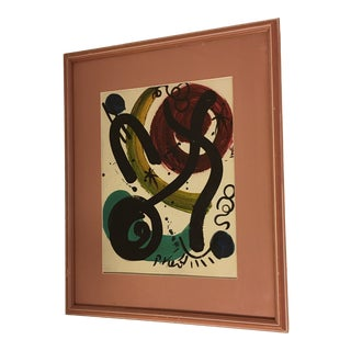 1970s Vintage Peter Keil Colorful Miro Homage Painting For Sale