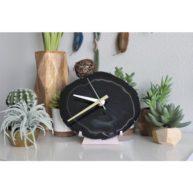 Black Agate Slice Desk Clock - Image 4 of 7