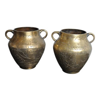 Heavy Brass Chinese Vases - A Pair For Sale
