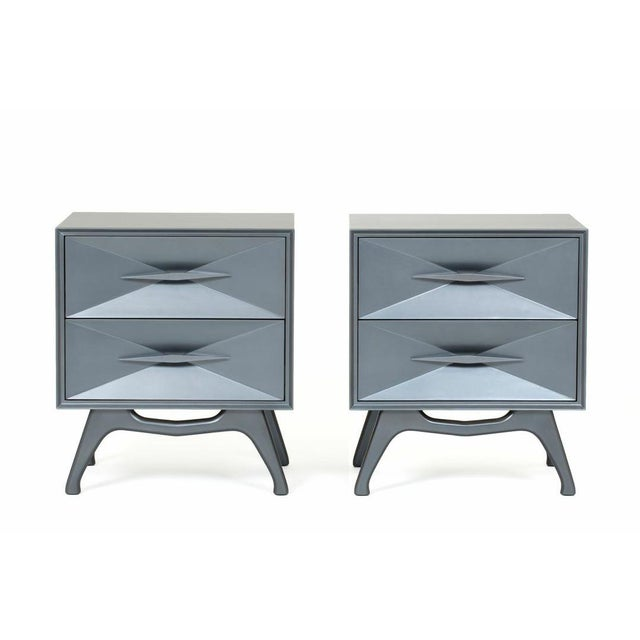 Mid-Century Modern 1960's Bedroom Set : Steel Grey Metallic Lacquer Two-Drawer Bedside Chests For Sale - Image 3 of 3