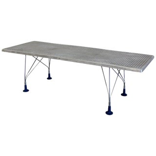 Dining Work Table With Perforated Aluminum Top and Herman Miller Adjustable Legs For Sale