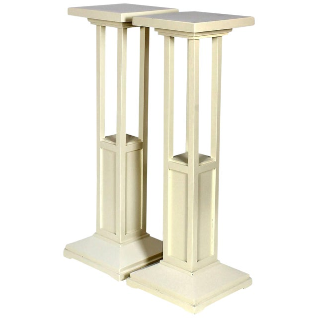 1910s Pair of Cubist Art Nouveau Stands, Ivory lacquered Oak, France For Sale