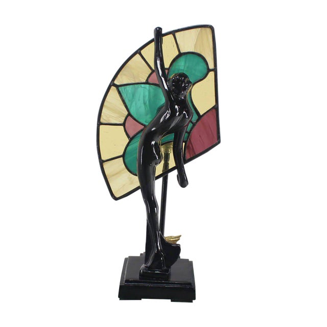 Black Art Deco Nouveau Style Nude Stained Glass Table Lamp For Sale - Image 8 of 8