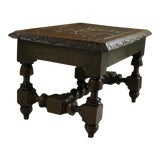 Image of 1930s Antique English Barley Twist Foot Stool Bench Kettle Stand Carved Oak For Sale