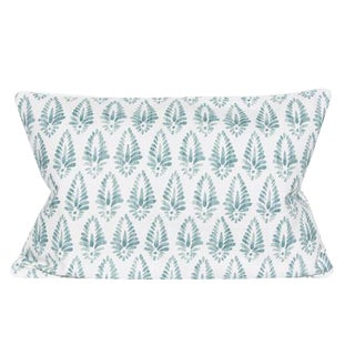 Boho Chic Aqua and White Print Linen Cotton Blend Decorative Pillow For Sale