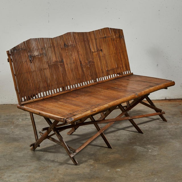 Wood Bamboo Slated Bench For Sale - Image 7 of 9