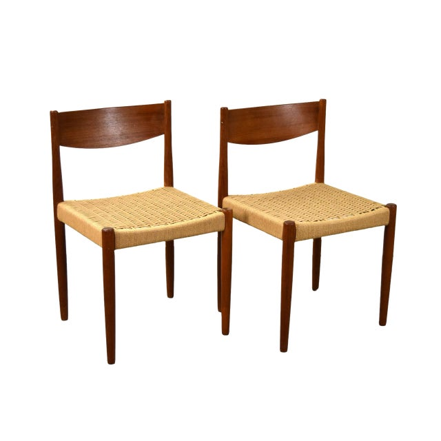 Vintage Poul Volther for Frem Rojle Cord Dining Chairs - A Pair For Sale