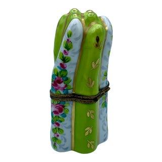 Vintage Limoges Porcelain Asparagus Trinket Box For Sale