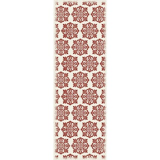 Red & White Modern European Design Rug - 2' X 6'