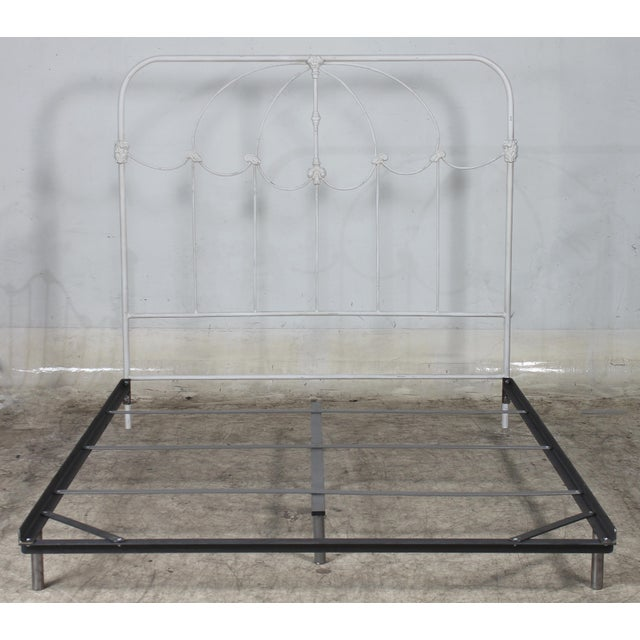 2010s Vintage Inspired French Farmhouse Shabby Chic Iron Queen Bed For Sale - Image 5 of 5