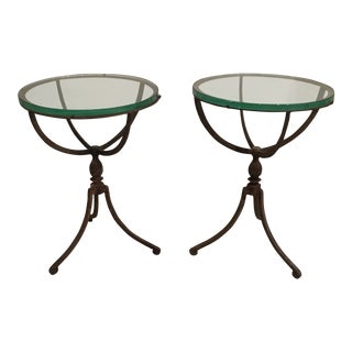20th Century Shabby Chic Iron Accent Tables - a Pair For Sale