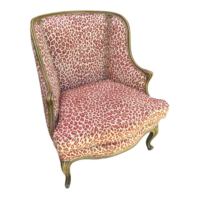 1940s Louis XV Style French Accent Chair Upholstered in Red Leopard Fabric For Sale