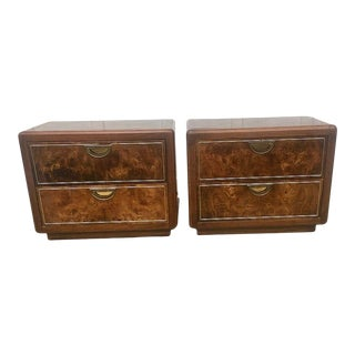 Mid Century Milo Baughman Style Burl Wood Nightstands a Pair For Sale