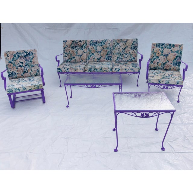 Mid-Century Modern C. 1970s Fresh Violet Paint 5-Piece Outdoor Set For Sale - Image 13 of 13