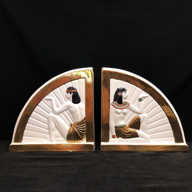 Vintage Art Deco Egyptian Revival Bookends For Sale - Image 10 of 10