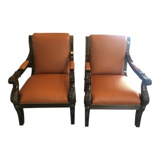 Empire Style Carved Leather Arm Chairs- A Pair For Sale