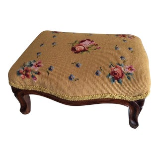 1940s Vintage Floral Needlepoint Footstool For Sale