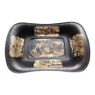 Antique Mid 19th Century Black Decorative Tole Tray For Sale