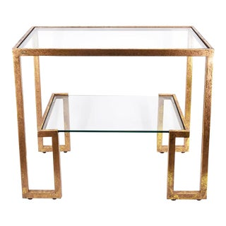 Allen Gold Two Tier Console Table For Sale