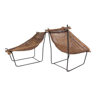 Pair of Mid-Century Modern Woven Wicker Sling Chairs For Sale
