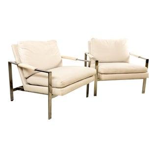 Milo Baughman Chrome Flatbar Lounge Chairs - A Pair