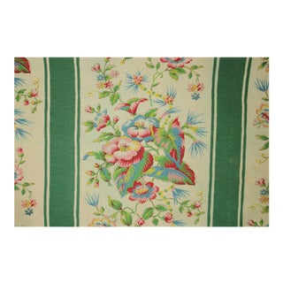 Antique French Green Striped Floral Curtain For Sale