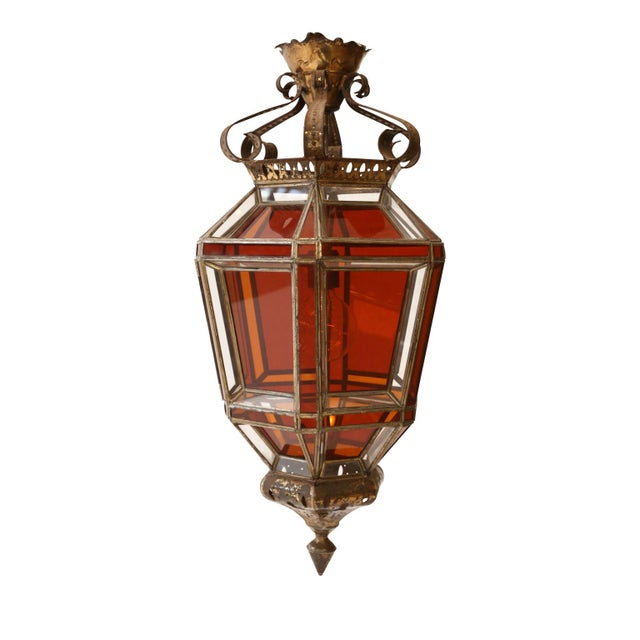 Andalusian Amber Glass Lantern For Sale - Image 4 of 7