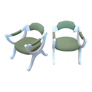 Hollywood Regency Style White Painted Drexel Chairs- A Pair For Sale