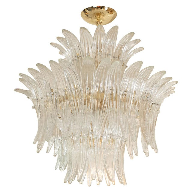 1960s 1960s Murano Glass Tiered Palmette Fixture For Sale - Image 5 of 5