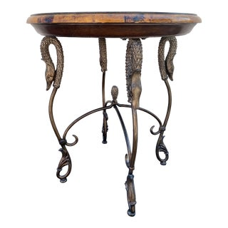 Maitland Smith Iron Swan Marble Mosaic Wood Top Gueridon Table For Sale