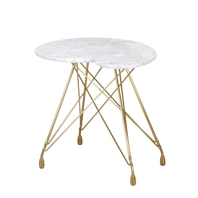 La Virgule Etoile Bronze Side Table with Carrara Marble Top For Sale