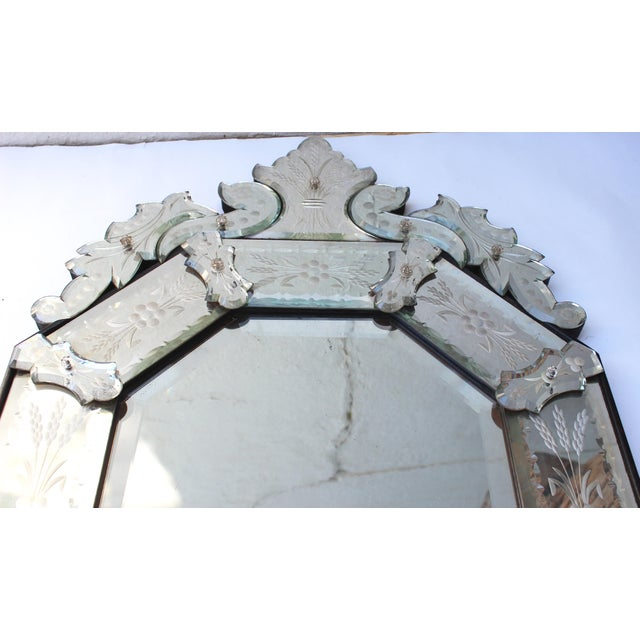 Venetian Style Glass Mirror For Sale - Image 9 of 12