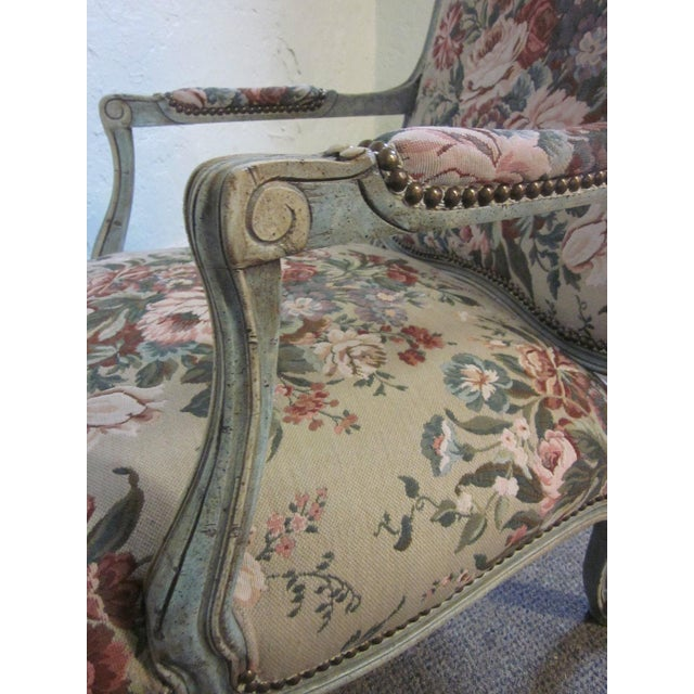 Stoneleigh Ltd. Louis XV Fauteuil Chair & Ottoman For Sale - Image 5 of 10