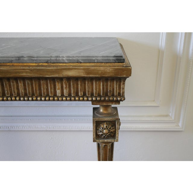 20th Century Louis XVI Style Petite Giltwood Wall Console Table With Stone Top For Sale - Image 4 of 10