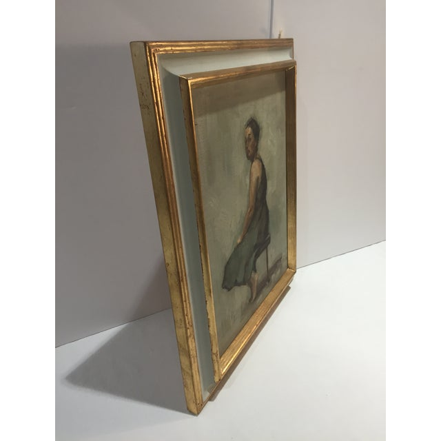 "2010s Rubino Framed Oil Painting ""Green Frock"", Contemporary Figure Portrait For Sale - Image 5 of 7"