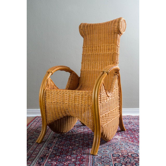 Vintage Wicker & Rattan Chair - Image 4 of 6