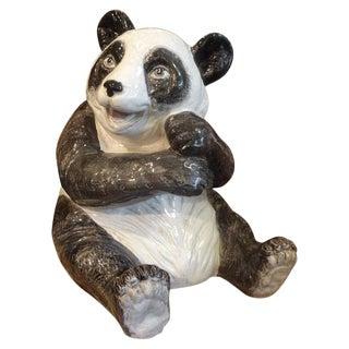Vintage Italian Glazed Terracotta Panda Bear For Sale