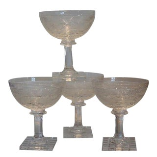 Set of 4 Antique Moser Stone Cut Champagne Stems W Bird Decoration For Sale