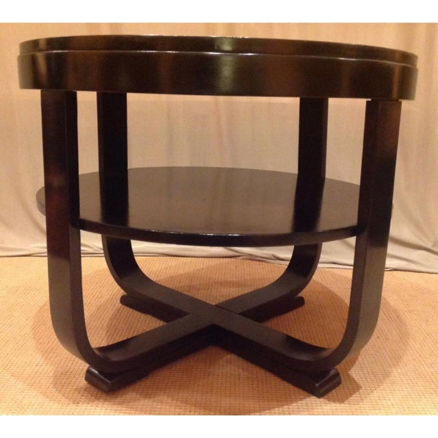 Art Deco Black Lacquered Round Art Deco Table For Sale - Image 3 of 7