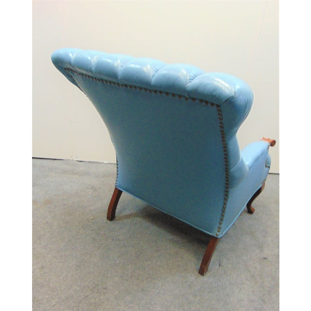Leather Chesterfeild Light Blue Leather Lounge Chair & Ottoman For Sale - Image 7 of 8