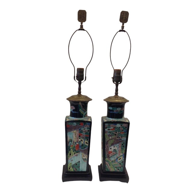 Early 20th Century Famille Noire Chinese Lamps - a Pair For Sale