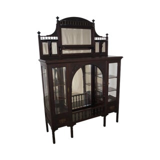 Antique Mahogany Art Nouveau Display Cabinet For Sale