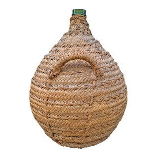 19th Century Italian Woven Wicker Covered Wine Jar Preview