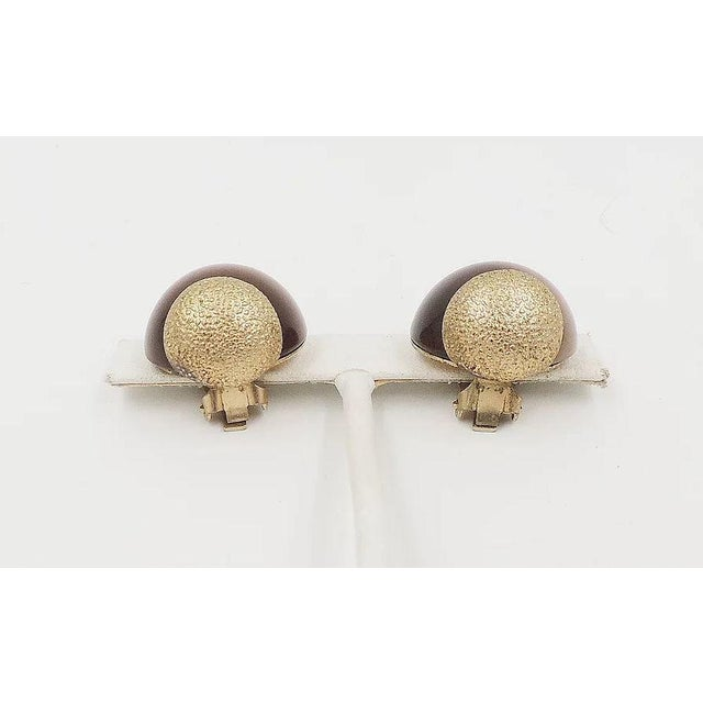 Mid-Century Modern 1950s Napier Brown Moonglow Textured Earrings For Sale - Image 3 of 9