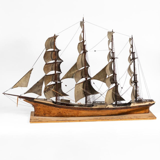 Late 19th Century Late 19th Century Handmade Wooden Ship Model From France For Sale - Image 5 of 11